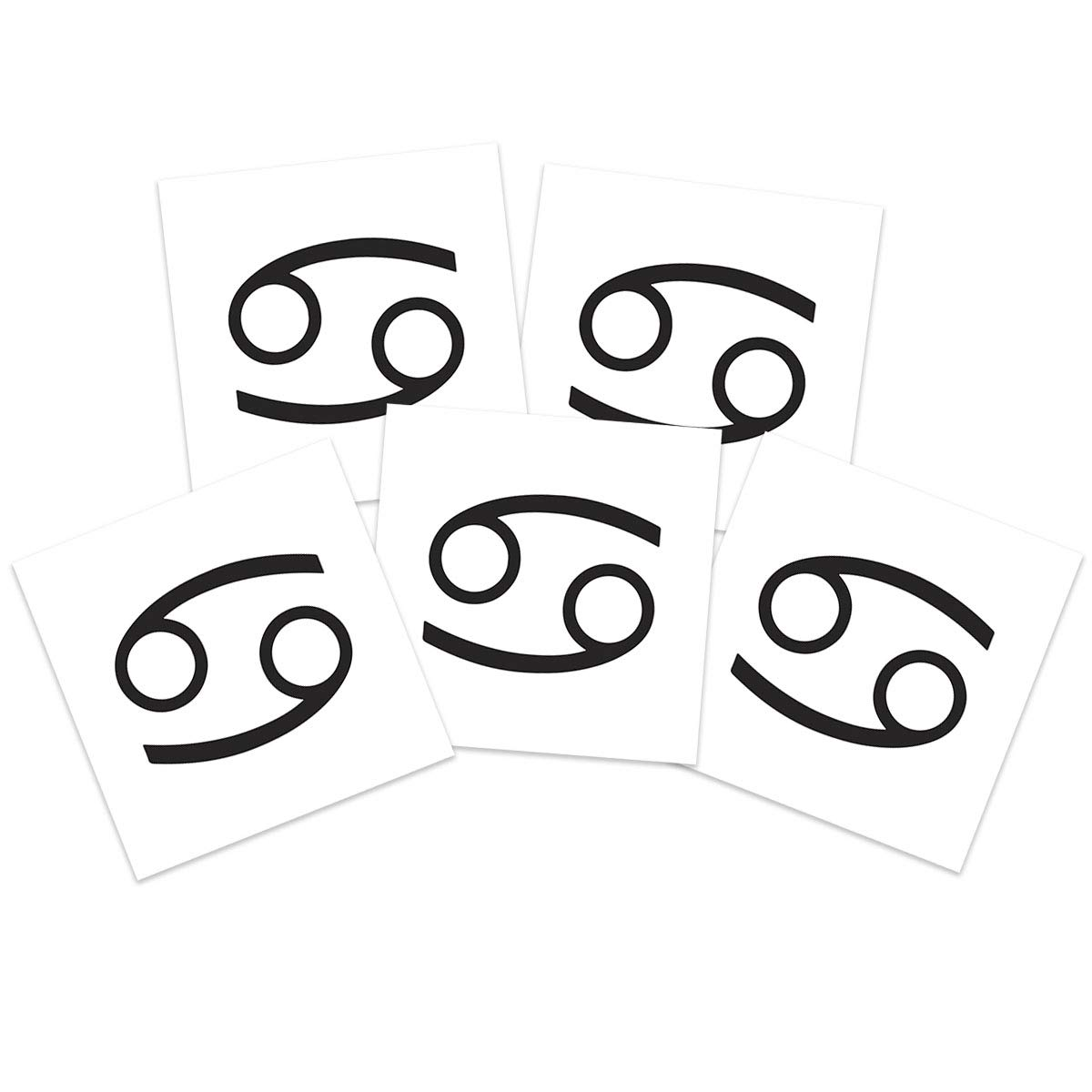 Cancer Zodiac Temporary Tattoos (5-Pack) | Skin Safe | MADE IN THE USA| Removable