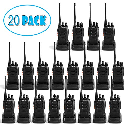Greaval walkie talkies 20 Pack Rechargeable Two-Way Radios with Earpiece 16 Channel UHF 400-470MHz Charger Included 20 Pack