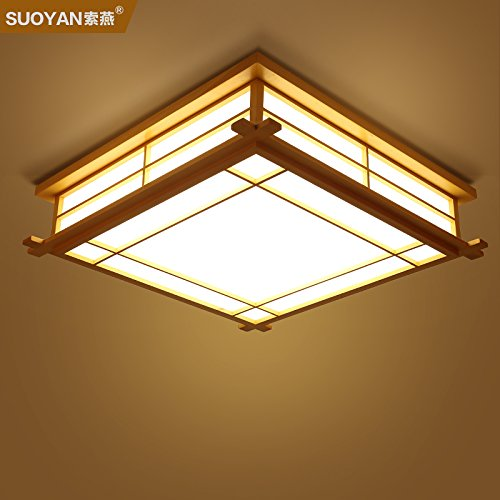 YPOSION Minimalist modern ceiling light lamp warm square bedroom living room light tatami room and Japanese style restaurant ,350mm Lamps
