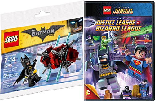 Lego Justice League VS Bizarro League & Toy Builder Bundle - Batman in the Phantom Zone mini figure Animated DVD DC Super Heroes Movie Fun Set (Spongebob Superhero Movie)