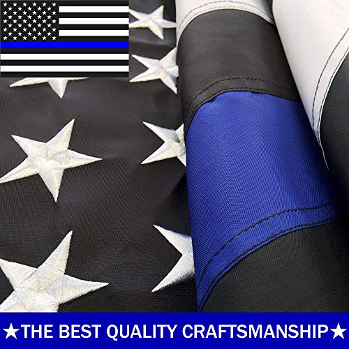 ATHX Thin Blue Line Flags 2x3 ft. - Embroidered Stars - Sewn Stripes - Brass Grommets - UV Protected - 210D Heavyweight Oxford Nylon Built (2 by 3 Foot, Thin Blue Line Police Flags)