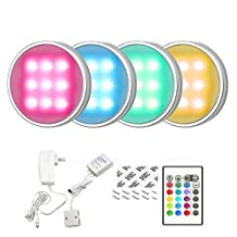 Cefrank Set of 4 RGB + White LED Under Cabinet Lighting Kit - 4 x 1.5 Watt LED Puck Lights with IR Remote and UL-listed Power Adapter - RGBW Multicolor for Surface and Recessed Mount