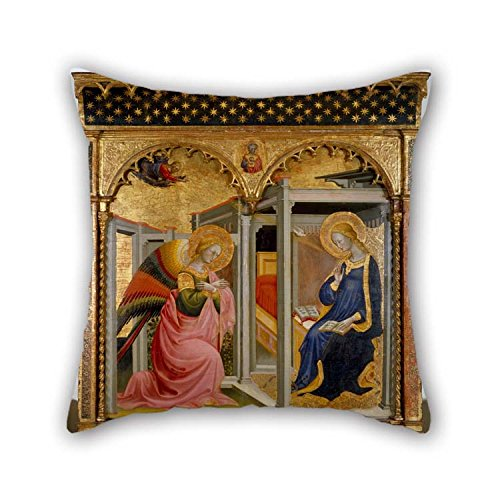 beeyoo Oil Painting Stefano D'Antonio Di Vanni - The Annunciation Throw Cushion Covers 16 X 16 Inches / 40 by 40 cm Best Choice for Home Theater Kids Girls Monther Dance Room Seat with Two Sides
