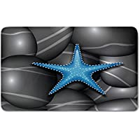 Memory Foam Bath Mat,Starfish Decor,Blue Starfish among Sea Pebble Stones Ocean Underwater Wildlife PrintPlush Wanderlust Bathroom Decor Mat Rug Carpet with Anti-Slip Backing,Grey Blue White