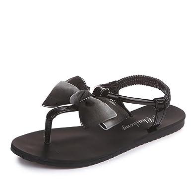 Women Flat Flip Flops Sandals Shoes Bowknot Bohemia Leisure Lady Peep-Toe Sandals Shoes