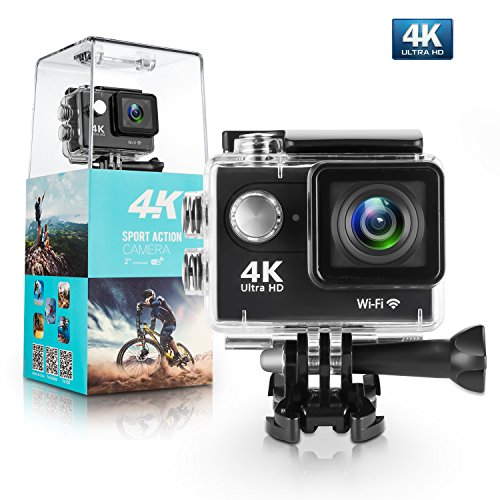 Action Camera,Bekhic 4K WiFi Ultra HD Waterproof DV Camcorder 12MP 170 Degree Wide Angle, Including Waterproof Case and Full Accessories Kits (Upgraded Version) (Black) (Black)