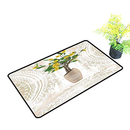 - Large Outdoor Door Mats Traditi al Til Paisley Style Flowerpot Ceramic Vase P Tern Theme Use for Entrance Outside Doormat Patio W23 x H15 INCH