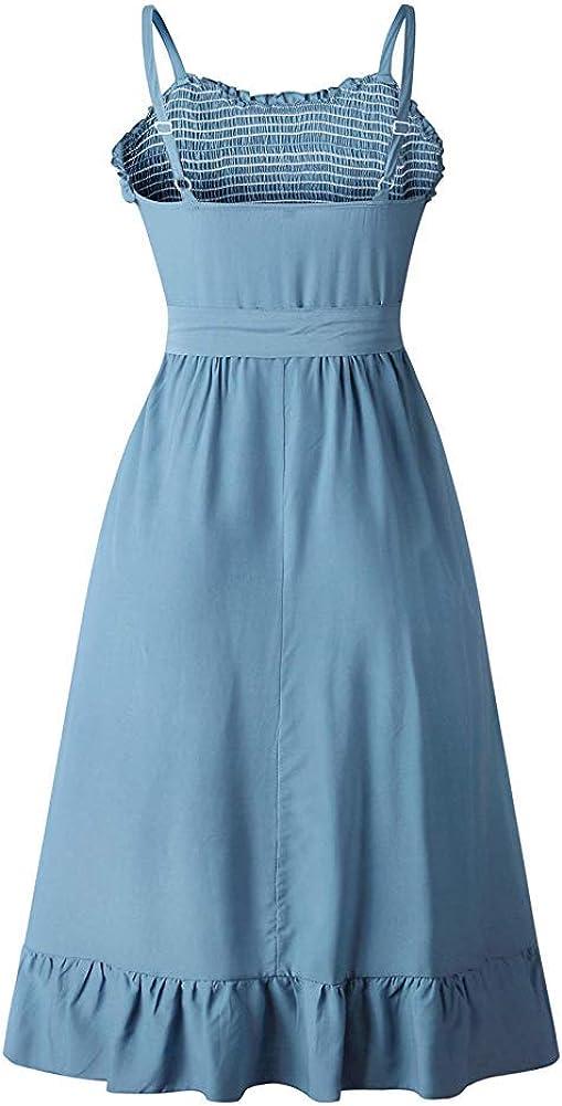 ECHOINE Womens Summer Boho Beach Dress Casual Spaghetti Strap Button Down Swing Midi Dress Sundress with Belt Pockets