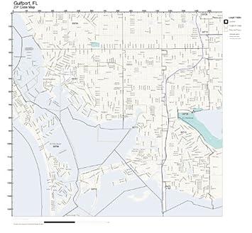 Amazon.com: ZIP Code Wall Map of Gulfport, FL ZIP Code Map Not ...