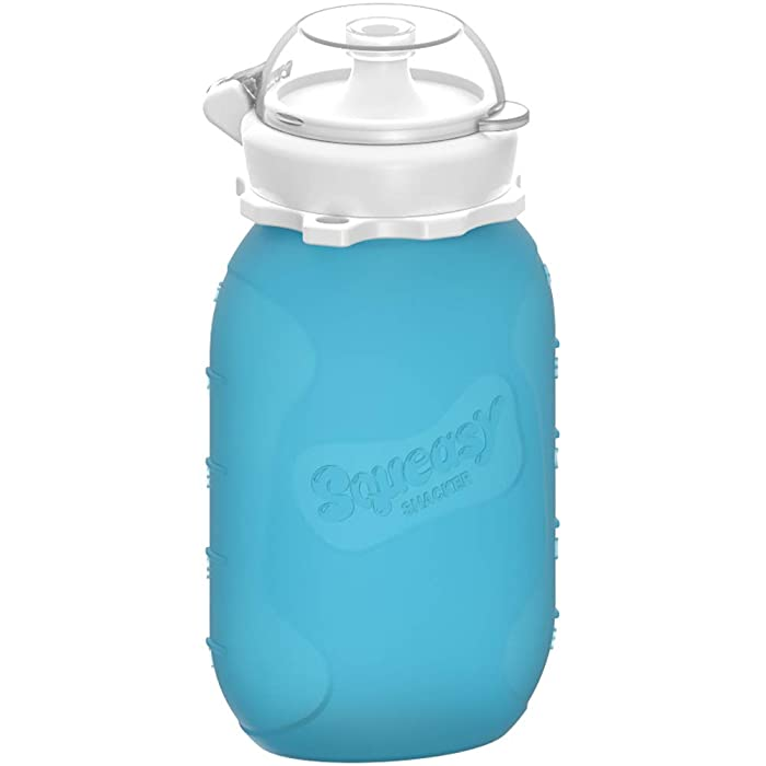 Blue 6 oz Squeasy Snacker Spill Proof Silicone Reusable Food Pouch - for Both Soft Foods and Liquids - Water, Apple Sauce, Yogurt, Smoothies, Baby Food - Dishwasher Safe