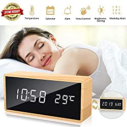 Alarm Clock,Wood Digital Desk Clock for Office Bedroom,Small Modern LED Wooden Clock with USB Charger Temperature Date 3 Adjustable Brightness 3 Alarms Voice Control for Kid Men Women (Wood+Black)