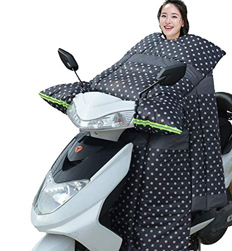 (Scooters Shield Padded,Warm Wind Blanket Windproof Cover Wider for Men Women Winter-White dot)