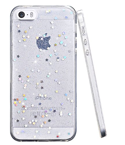 iPhone 5 Case, iPhone 5s SE Slim Case,BAISRKE Luxury Bling Glitter Sparkle Clear Transparent Soft TPU Bumper Back Cover Case for iPhone 5 5s SE - Clear
