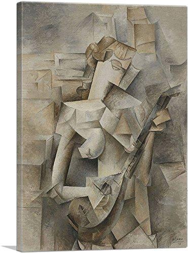 (ARTCANVAS Girl with a Mandolin 1910 Canvas Art Print by Pablo Picasso- 26