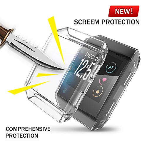 Fitbit Ionic Screen Protector Case, UBOLE Scratch-resistant Flexible Lightweight Plated TPU FullBody Protective Case for Fitbit Ionic Smart Watch (CLEAR)