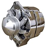 NEW CHROME 110AMP GM STYLE ALTERNATOR WITH BILLET 6-GROOVE PULLEY AND FAN, 1 OR 3 WIRE CONNECTION