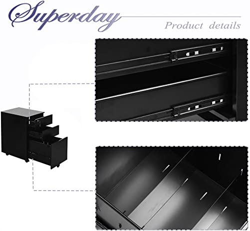 Superday Locking File Cabinet 3-Drawer Metal Vertical File Cabinet with Hanging File Frame for Legal Letter File, Black