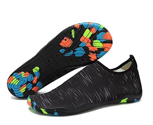 CIROHUNER Männer Frauen Leichte Multifunktionale Quick-Dry Aqua Wasser Schuhe für Beach Swim, Walk, Yoga Schwarz_d