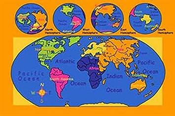 Amazon.com: World Map 7x10 Educational Area Rug Non Slip Backing ...