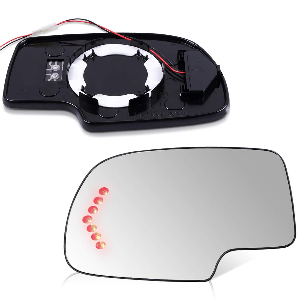 SCITOO Compatible fit for Set Exterior Mirror Replacement Glasses Left+Right LH RH Side Power Heated Signal 2003-2007 Chevrolet Silverado Suburban GMC Sierra Yukon Replacement Tow Mirror Glass by SCITOO