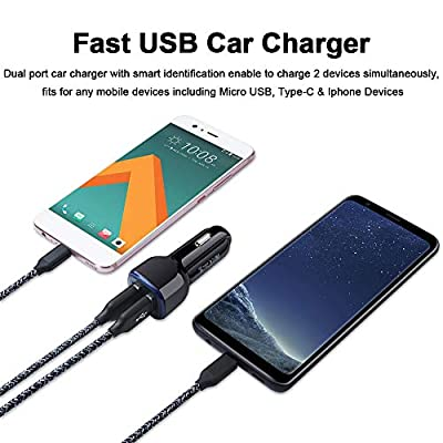 Car Charger,Dual Port USB Car Adapter Flush Fit Compatible for iPhone 11 Pro XS Max XR X 8 7 6 6s Plus,Samsung Galaxy A20 A50 A80 A90 S10+ S10e S9+ Note 10+ 10 9,LG,Motorola,Google Pixel,Android Phone
