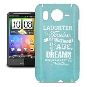 Teléfono caso para HTC Desire HD–Aqua risa es atemporal Walt Disney Quote snap-on cubierta