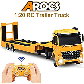 Double E Rc Tow Truck Licensed Mercedes Benz Acros Detachable Flatbed Semi Trailer Engineering Tractor Remote Control Trailer Truck Electronics Hobby Toy