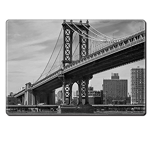 Mouse Pad Unique Custom Printed Mousepad New York Decor Bridge Of Nyc Vintage East Hudson River Image Usa Travel Top Place City Photo Art Print Grey Stitched Edge Non Slip (Genius Ergonomic Mouse)