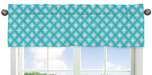 Sweet Jojo Designs Turquoise, White and Gray Window Valance for Mod Elephant Collection Bedding Sets -