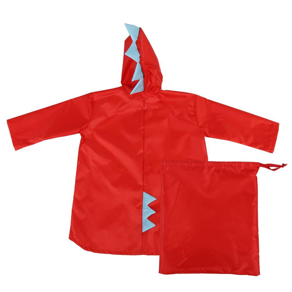 Raincoat for Kids Rain Jacket PVC Raincoat Dinosaur Shaped Lightweight Rainwear for Boy Girls (Red L) Fdit