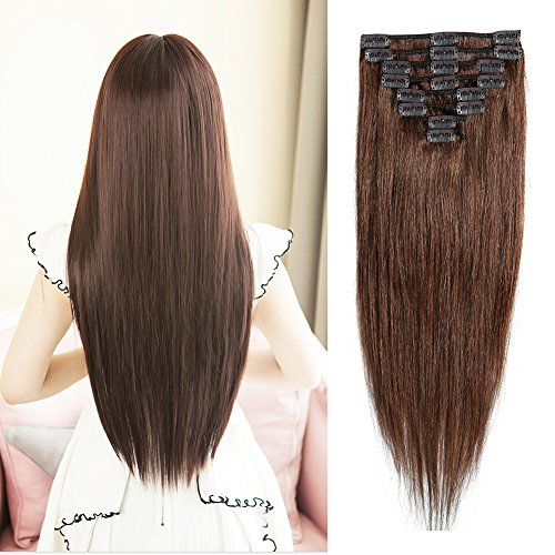 (#4 medium brown Clip in 100% Remy Human Hair Extensions 8
