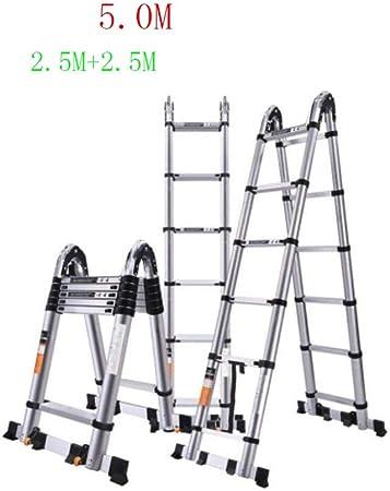 GTRR Escalera telescópica Engrosada Alta 2 3 4 5 M Escalera de contracción de Espiga de diseño de ingeniería Espacio Plegable para el hogar (Size : 5.0 M): Amazon.es: Hogar
