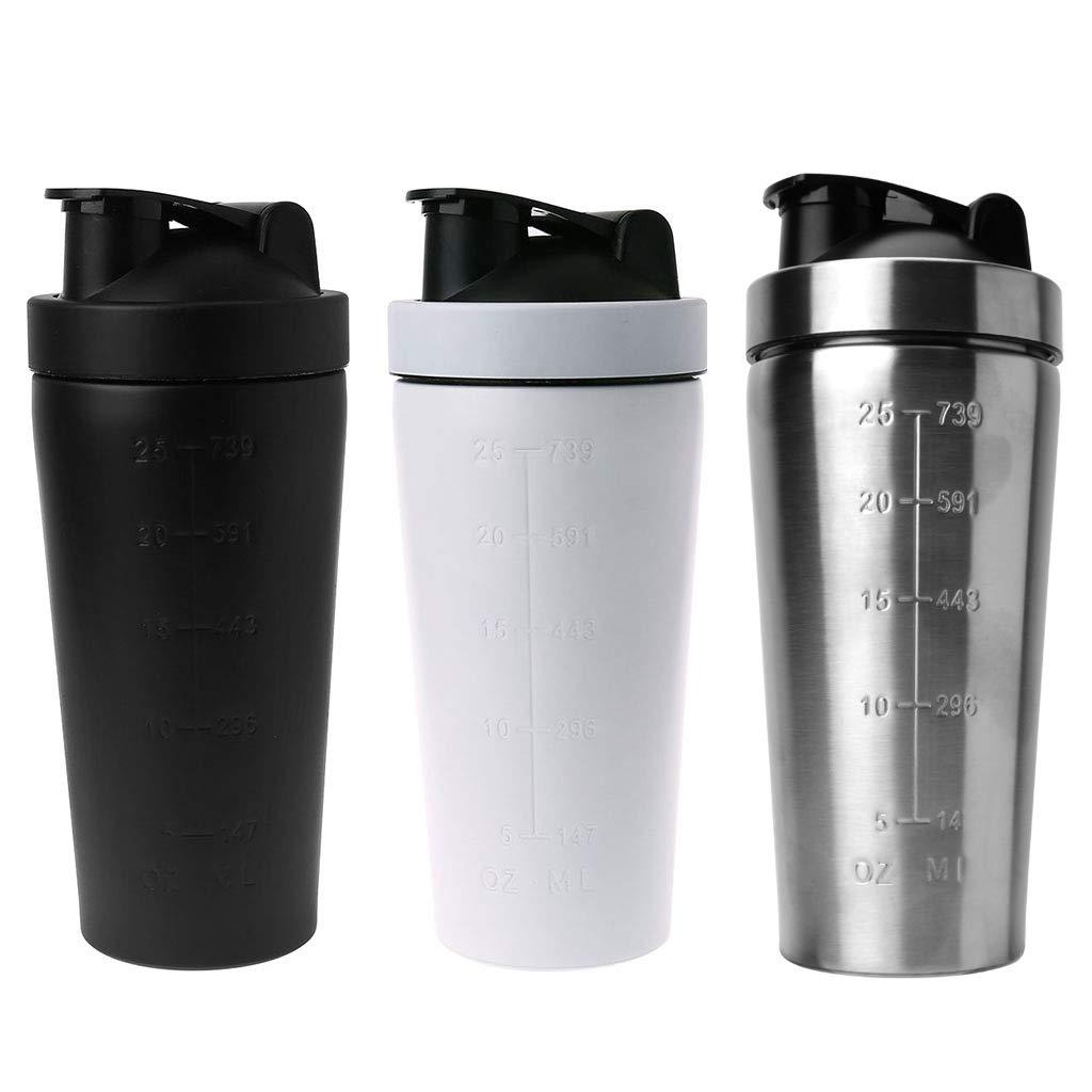 Durchmesser:7 cm FKY Botella de acero inoxidable para agua 2,75 Zoll polvo de prote/ína H/öhe:22 cm 8,66 Zoll Blanco 750 ml