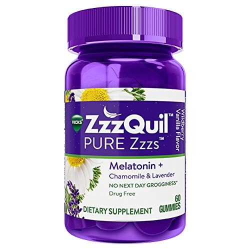 ZzzQuil PURE Zzzs Melatonin Sleep Aid Gummies, Natural Flavor, 60 ct, with Chamomile, Lavender, and Valerian Root, 1mg per gummy