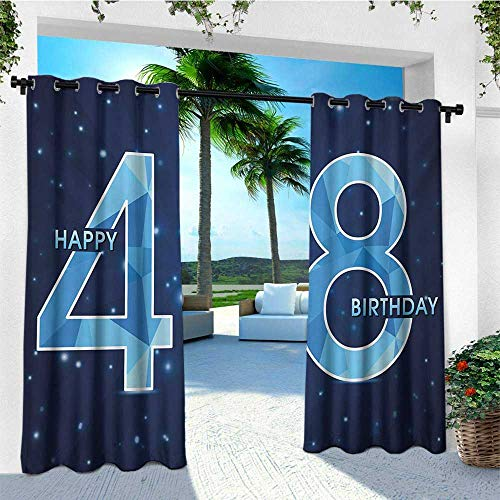 - leinuoyi 48th Birthday, Outdoor Curtain of Lights, Anniversary Pattern on Star Night Sky Polygon Aging Vintage Image, for Privacy W84 x L96 Inch Indigo Pale Blue