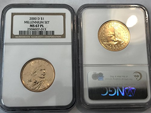 Ngc Slabbed - 2000 D Sacagawea Dollar (Sacajawea) MILLENNIUM SET RARE PROOF-LIKE (PL) $1 MS-67 NGC PL