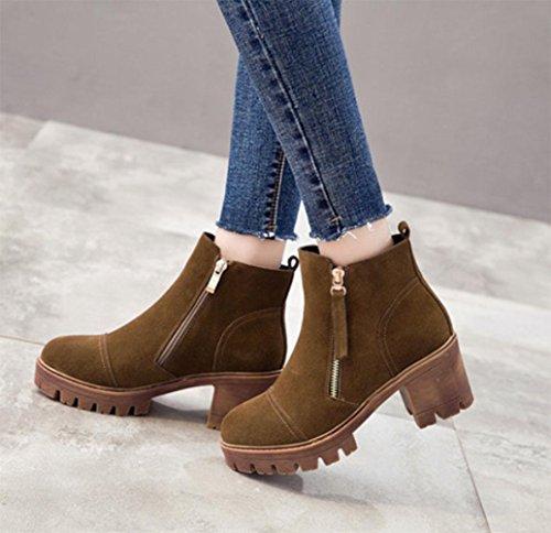 lato KUKI donna scarpe stivali donne a tacco inverno boots scarpe con autunno donna impermeabili alto e da Martin buon khaki mercato zip green retrò 8q6v8r