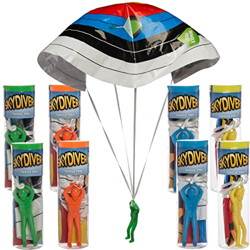 Sky Parachute (Regent (8 Pack) Tangle Free Plastic Army Man Sky Diving Parachute Toys Kids Play)