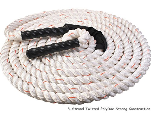 1.5'' Poly Dacron 50ft/White Battle Rope Workout Strength Training Undulation TKT-11 by TKT-11 (Image #6)