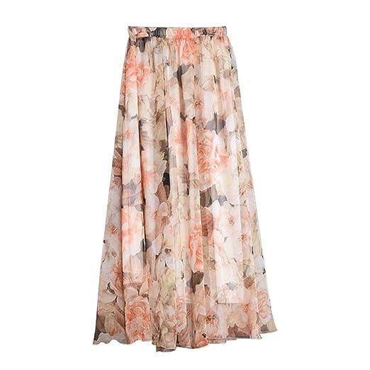 FENICAL Falda de Gasa de Playa con Estilo para Mujer Faldas ...