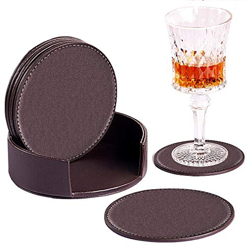YAPISHI Coaster for Drinks with Holder, Set of 6 PU Leather Drink Coasters Coffee Tea Cup Pads Round Brown Table Mat for Home/Office/Kitchen/Bar, Protect Your Furniture from - Set Faux Leather Coaster