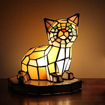 Royal Tiffany Style European Creative Cat Table Lamp