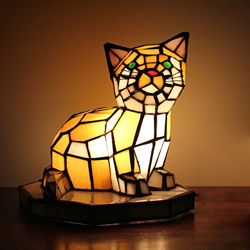 Tiffany Style European Creative Cat Table Lamp Children's Lamp Night ()
