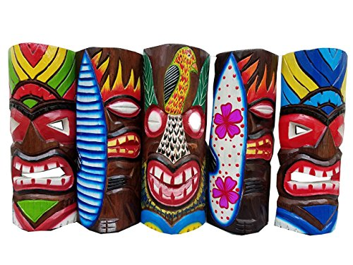 "Set of (5) Vibrant Wooden Handcarved 12"" Tall Tiki Masks Tropical Wall Decor!"
