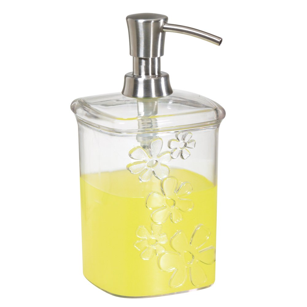 InterDesign Blumz Liquid Soap & Lotion Dispenser Pump for Kitchen or Bathroom Countertops, Clear