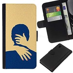 iBinBang / Flip Funda de Cuero Case Cover - Yellow Love Minimalist Clean - Sony Xperia Z1 L39H
