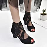 AIMTOPPY HOT Sale, Zip Ladies mesh high-heeled shoes with chunky lace fish mouth Casual Open Toe Lace Party Singel Shoes (US:6, Black)