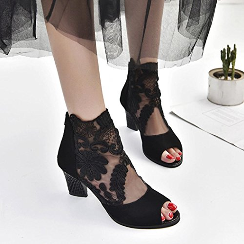 AIMTOPPY HOT Sale, Zip Ladies mesh high-heeled shoes with chunky lace fish mouth Casual Open Toe Lace Party Singel Shoes (US:6.5, Black) by AIMTOPPY