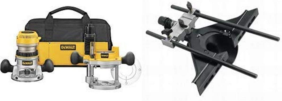 DEWALT DW618PKB 2-1/4 HP EVS Fixed Base/Plunge Router Combo Kit with Soft Start with DW6913 Router Edge Guide with Fine Adjustment and Vacuum Adaptor