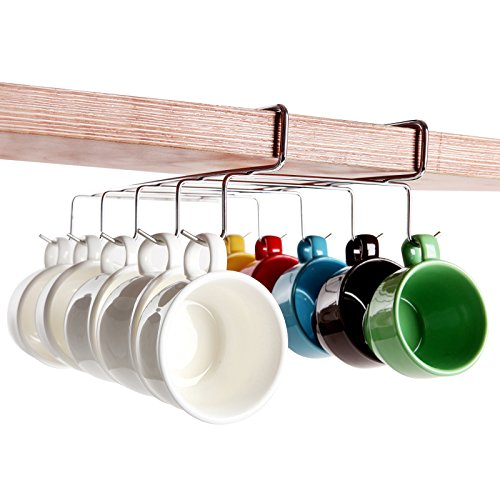 MyGift Under-The-Shelf 10 Hook Espresso Cup Storage Drying Rack/Silver-Tone Metal Small Teacup ()